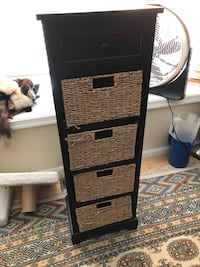 Tall black cabinet with basket drawers gently used Stoughton, 02072