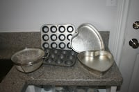 Mini muffin tins (2) Heart shaped cake pans (2) dry ingredient sifter Oshawa, ON, Canada