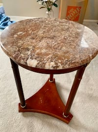Marble and wood side table