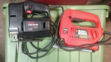 red and black corded power tools