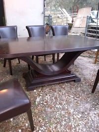 rectangular brown wooden table with four chairs dining set Hernando, 34442
