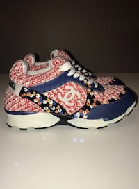 pair of red-and-blue Chanel running shoes
