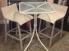 Bistro Glass Table & 2 High Chairs