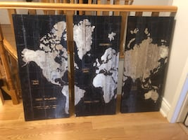 BEAUTIFUL 3 PIECE PAINTING OF THE WORLD MAP