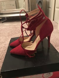 pair of red suede open-toe ankle strap heels Kent, 98031