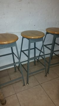 Industrial look metal barstools with wood top;  $10 each or 3 for $25 null