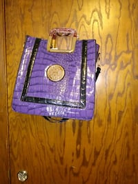 purple and brown leather wallet