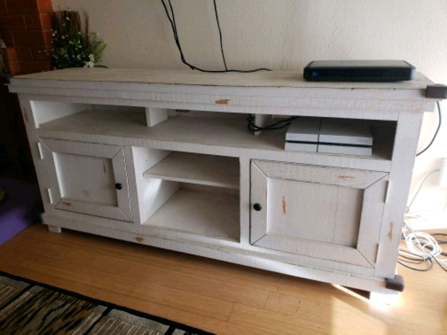 used distressed white wooden tv stand with cabinets for sale in rh us letgo com