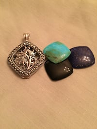 Sterling Marcasite Interchangeable Pendant/Locket: Turquoise, Lapis, Onyx Arlington, 22204