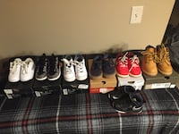 Assorted pairs of air jordan basketball shoes from 6c to 8c