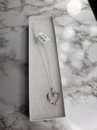 Genuine Opal and Created Pink Sapphire Mom Heart Pendant 925 Sterling