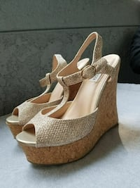 brown leather sling back wedge