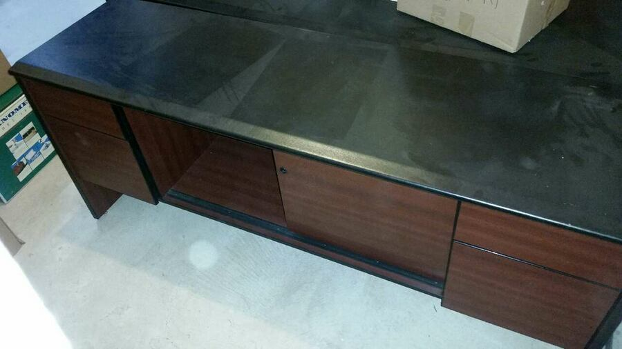 Desk and Hutch (brown wood & black leather)  146a4a93-cfb5-4e17-a94f-f3945c20366c