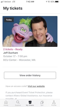 Two tickets for tonight's show in Worcester MA Newington, 06111