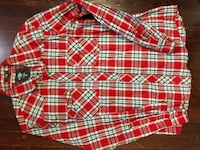 Red, white, and black plaid dress shirt