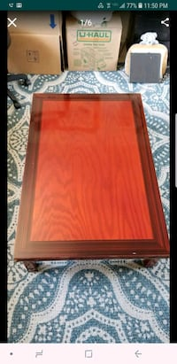 Red lacquered Korean wood floor table San Diego, 92123