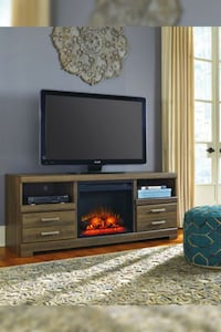 Frantin Brown TV Stand with Fireplace Insert Houston, 77036