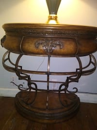 Half moon console table with drawer wood/metal