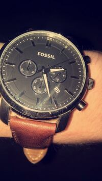 round black case Fossil chronograph watch with brown leather strap Harrah, 73045
