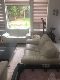 2 Cream leather love seat and chair  Burnaby, V3N