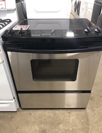 ✌Kitchen Aid slide in glass top stove. Electric. Black and stainless. Used. - Farmingdale