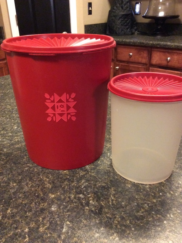 TUPPERWARE ~ Canisters- Set Of 2- Kitchen Food Storage Red Clear (or best  offer)