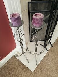 2 metal candlesticks