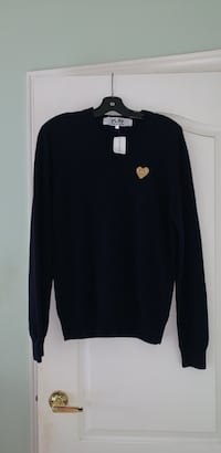 "AUTHENTIC- ""Play"" Comme Des Garçons sweat shirt- dark navy"