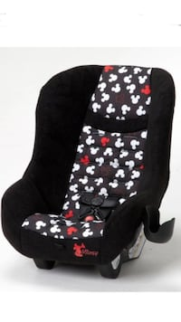 bbaby's black, white, and red Mickey Mouse print car seat carrier
