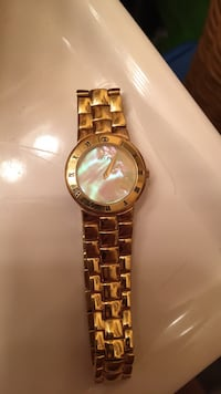 Round gold-colored analog watch with link bracelet Woodbridge, 22193