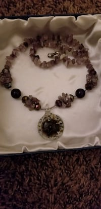 Amethyst and Glass Flower Bead Necklace