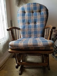 brown oak wood framed blue padded glider chair. Essex, 21221
