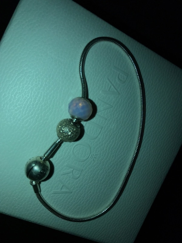 Silver pandora bracelet with two charms