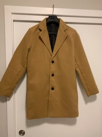 Mens Khaki Single Breasted Trench Pea Coat (M)