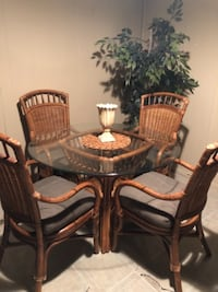 Round glass top table with four chairs dining set PISCATAWAY