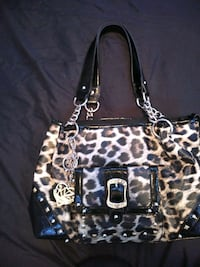 black and brown leopard print leather tote bag Hagerstown