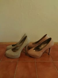 pair of gray leather platform stilettos Bronx, 10453