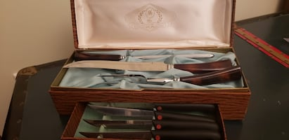 Stainless steel carving set & Henckels knives in wooden box