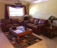 Brown leather 2 piece living room set