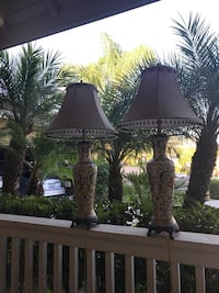 Two ceramic base table lamps with white lamp shades Escondido, 92026