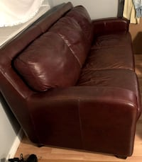 Leather couch, loveseat and an ottoman—dark wine color—great quality leather! There are no stains and only tiny scratches which usually can't be seen after using a leather balm.  Colorado Springs, 80906