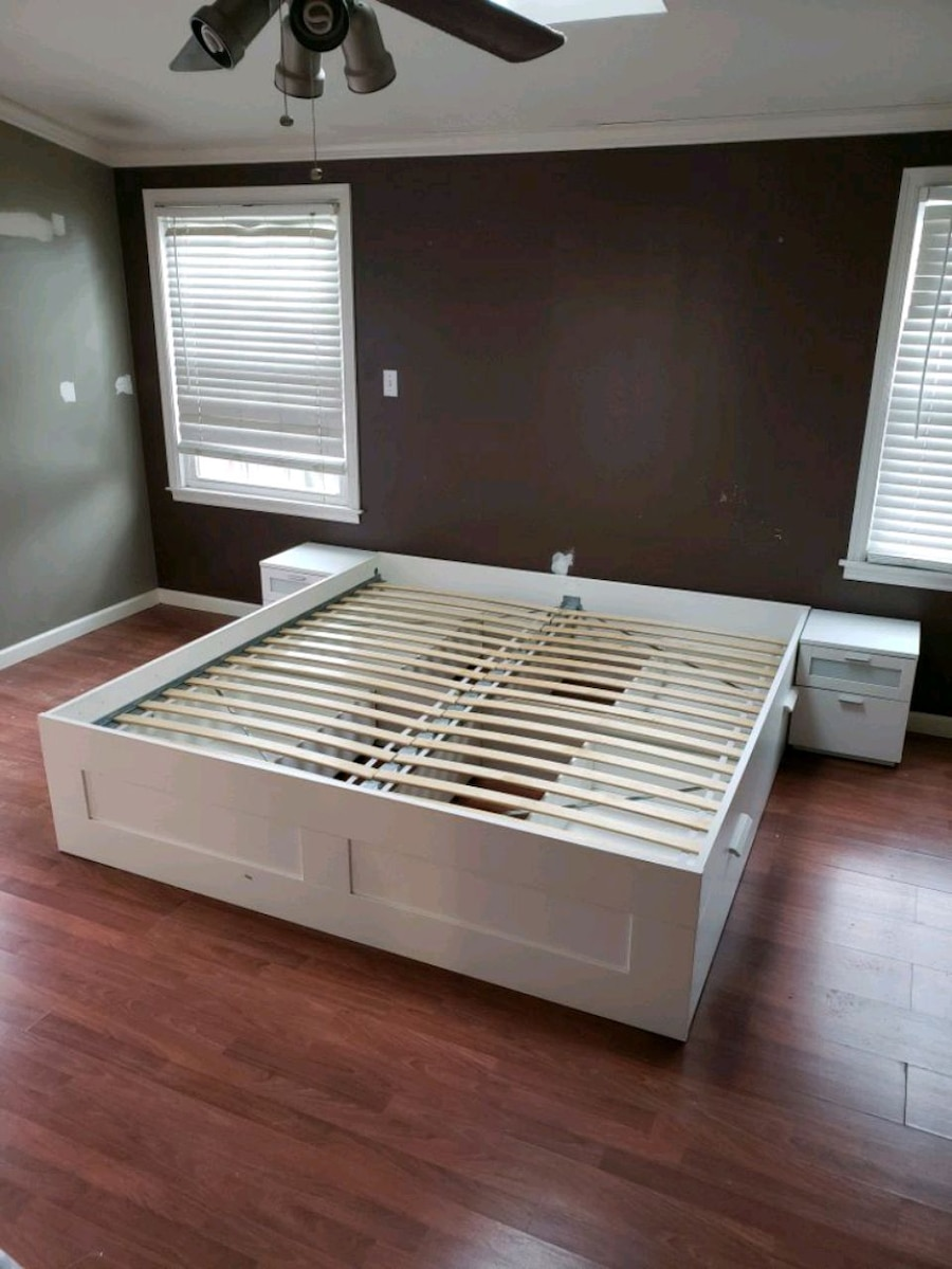 Photo White IKEA BRIMNES King Bed frame with storage and 2 night stands