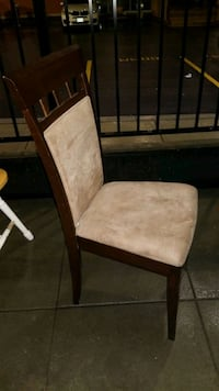 3 wood and beige suede chairs