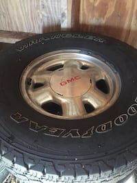 16'' GMC rims and tires. All 4 with center caps. Goodyear Tire's have little tread left. Wheels are in good shape. Olanta, 29114