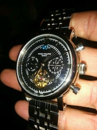 round black chronograph watch with black leather strap Sunnyvale, 94085