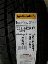 2 new continental tires 225/45ZR17
