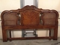 Solid oak and wicker king headboard. Middle Island, 11953