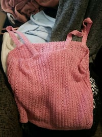 Crochet/knit pink crop top