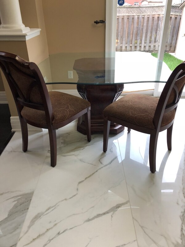 Rectangular brown wooden table with 4 chairs dining set
