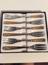 Dessert fork Set with gold inlay-six forks in box